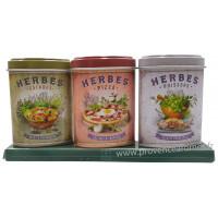 Coffret 3 petites Boîtes Herbes Salades - Pizza - Poissons déco rétro Esprit Provence