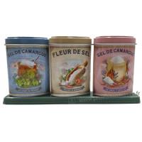 Coffret 3 petites Boîtes Fleur de Sel - Sel Piment d'Espelette - Sel Herbes de Provence déco rétro Esprit Provence