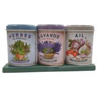Coffret 3 petites Boîtes Herbes Provence - Lavande alimentaire - Ail déco rétro Esprit Provence