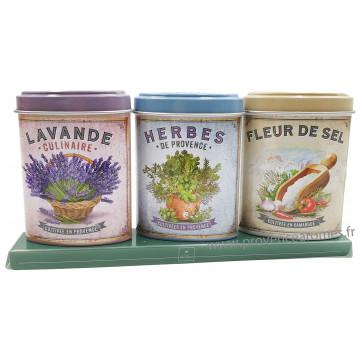 Coffret 3 petites Boîtes Herbes Provence - Lavande alimentaire - Fleur de Sel déco rétro Esprit Provence