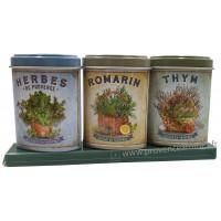 Coffret 3 petites Boîtes Herbes Provence - Romarin - Thym déco rétro Esprit Provence
