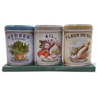 Coffret 3 petites Boîtes Herbes Provence - Ail - Fleur de Sel déco rétro Esprit Provence