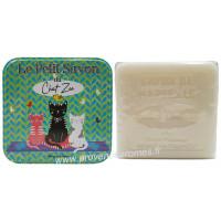 Boîte carrée déco Le petit savon du chat Zen et son savon au Lait d'ânesse