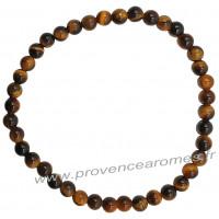 Bracelet en Oeil de tigre pierre naturelle perles rondes 4 mm