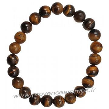 Bracelet en Oeil de tigre pierre naturelle perles rondes 8 mm