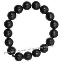 Bracelet en Obsidienne Œil Céleste naturelle perles rondes 12 mm