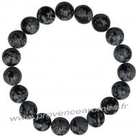Bracelet en Obsidienne Flocons de neige naturelle perles rondes 12 mm