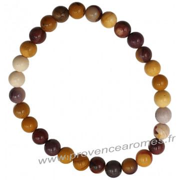 Bracelet en Jaspe Mokaïte naturelle perles rondes 6 mm