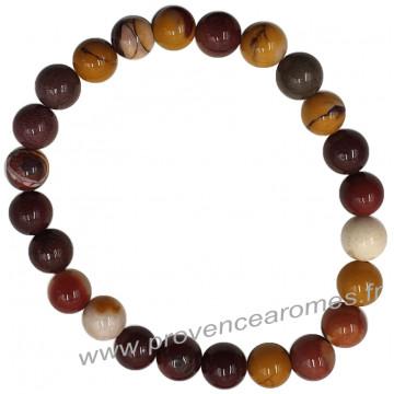 Bracelet en Jaspe Mokaïte naturelle perles rondes 8 mm