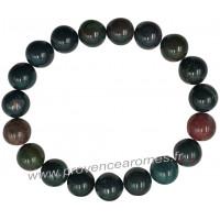 Bracelet en Jaspe Héliotrope naturelle perles rondes 15 mm
