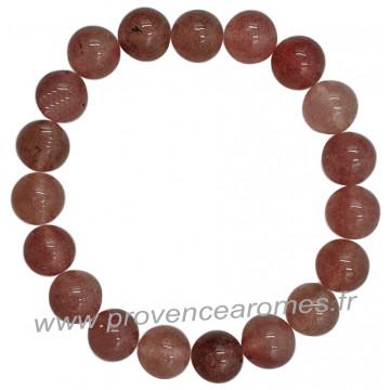 Bracelet en Quartz Fraise pierre naturelle perles rondes 10 mm