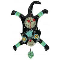 Horloge Chat Noir pelote de laine à balancier Allen designs