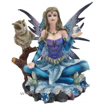 Figurine La fée de l'hivers et le Hibou 13 cm