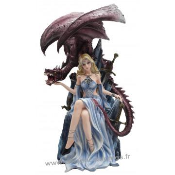 Figurine La Reine sur son trône et le dragon 39 cm