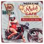 Plaque métal WELCOME MOTEL CAFE 30 x 30 cm déco rétro vintage