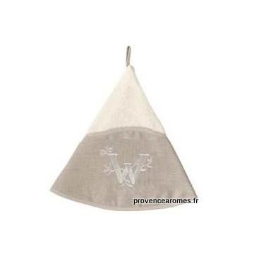 serviette main ronde brodée personnalisée initiale lettre W