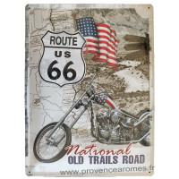 Plaque métal Route 66 National OLD TRAILS ROAD 40 x 30cm déco rétro vintage