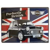 Plaque métal MINI Perfectly British 40 x 30cm déco rétro vintage