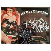 Plaque métal Harley Davidson Pin-up 40 x 30 cm déco rétro vintage