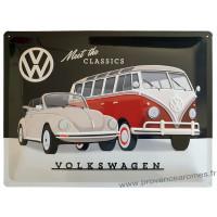 Plaque métal Volkswagen Van et Coccinelle 40 x 30 cm déco rétro vintage