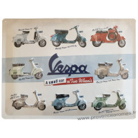 Plaque métal VESPA a small car on Two Wheels 40 x 30 cm déco rétro vintage