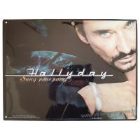 Plaque métal Johnny Hallyday Sang pour sang 40 x 30 cm déco rétro vintage