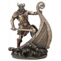 Statuette GUERRIER VIKING 24 cm effet bronze
