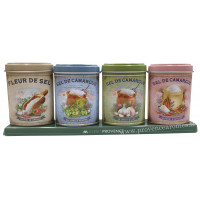 Coffret 4 petites Boîtes Fleur de Sel et Sel de Camargue Trésor de la mer déco rétro Esprit Provence