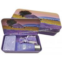 Boîte savon crème mains sachet de lavande déco Tournesols Esprit Provence