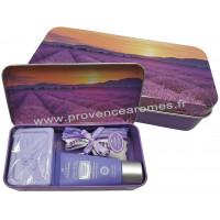 Boîte savon crème mains sachet de lavande déco Rangs de lavande Esprit Provence