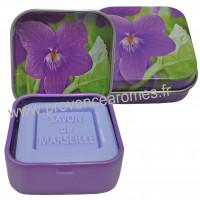 Boîte et savon d'invité Violette déco violettes Esprit Provence
