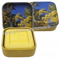 Boîte et savon d'invité mimosa déco fleurs de mimosa Esprit Provence