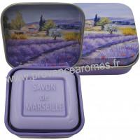 Boîte et savon d'invité Lavande déco Paysage Provençale Esprit Provence