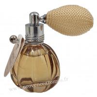 Eau de toilette JASMIN BLANC 12 ml flacon facettes rétro avec poire Esprit Provence