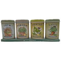 Coffret 4 petites Boîtes Thym - Romarin - Menthe - Sauge déco rétro Esprit Provence