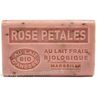 Savon Rose Pétales au lait d'ânesse frais Bio 125 gr