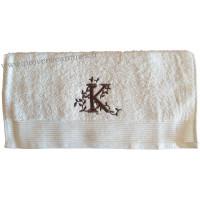 Serviette 50 x 100 brodée personnalisée initiale lettre K