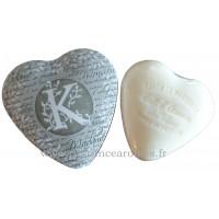 Boîte en forme de cœur déco lettre K et son savon Lait d'ânesse