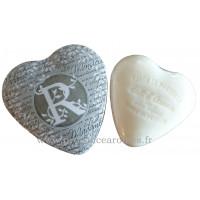 Boîte en forme de cœur déco lettre R et son savon Lait d'ânesse