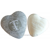 Boîte en forme de cœur déco lettre T et son savon Lait d'ânesse