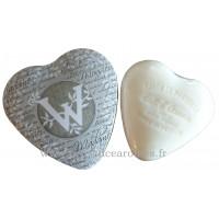 Boîte en forme de cœur déco lettre W et son savon Lait d'ânesse