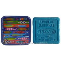 Boîte carrée déco Sardines et son savon marine