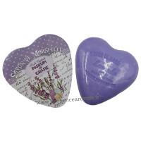 Boîte en forme de cœur déco lavande Parfum de Grasse et son savon lavande
