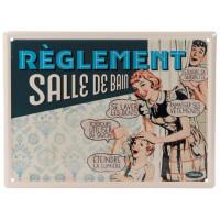 Plaque métal RÈGLEMENT SALLE DE BAIN Natives déco rétro vintage