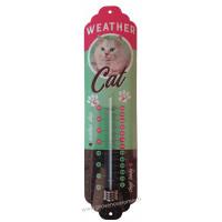Thermomètre métal WEATHER CAT rétro vintage collection