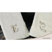 serviette brodée abécédaire ronde