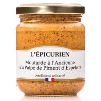 Moutarde à l'Ancienne à la pulpe de Piments d'Espelette L'épicurien- 200g
