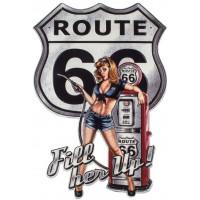 Plaque métal Pin-up station essence Route 66