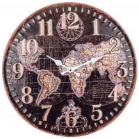 Horloge métal MAPPEMONDE 40,5 cm déco rétro vintage
