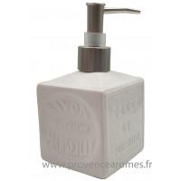Pousse distributeur de Savon liquide en forme de cube Savon de Marseille couleur Blanc